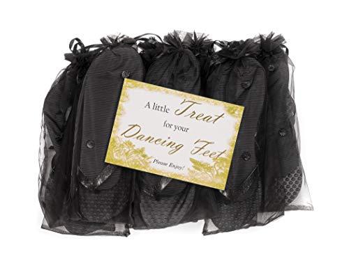 MODO Hochzeit/Party Glitter Flip Flops 10er Pack In Organza Beuteln  38-39 EU x 10, Schwarz