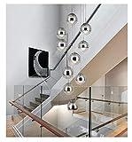 Redstone lighting Moderne Treppe Kronleuchter 6/10 Glaskugeln Kreative Persönlichkeit Villa Wohnzimmer Lampe Minimalistischen Lange Pendelleuchte (Farbe : Silber, größe : 10 Heads)