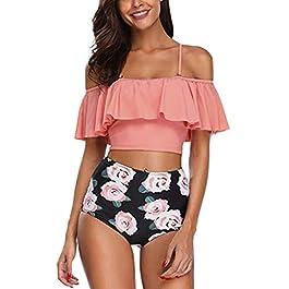 LMMET Costume da Bagno Donna Vita Alta Tankini Forti Due Pezzi,Tankini Donna Mare,Costumi da Bagno Donna Bikini Vita Alta