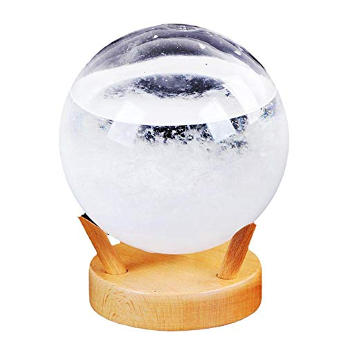 rebirthesame Storm Glass Weather Forecaster Stilvoller innovativer Desktop-Wetterprädiktor mit Kleiner Wetterstation auf Holzbasis für das Büro zu Hause