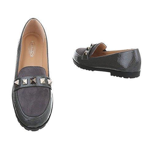 Ital-Design Chaussures Femme Mocassins Bloc Mocassins gris 588-2