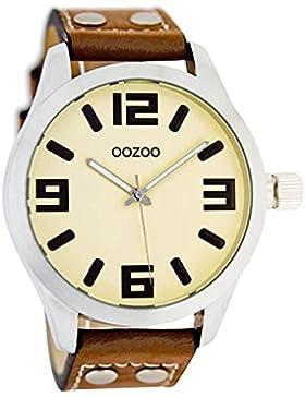 Oozoo Mädchen-/Damenuhr mit Lederband 34 MM Creme/Cognac JR157