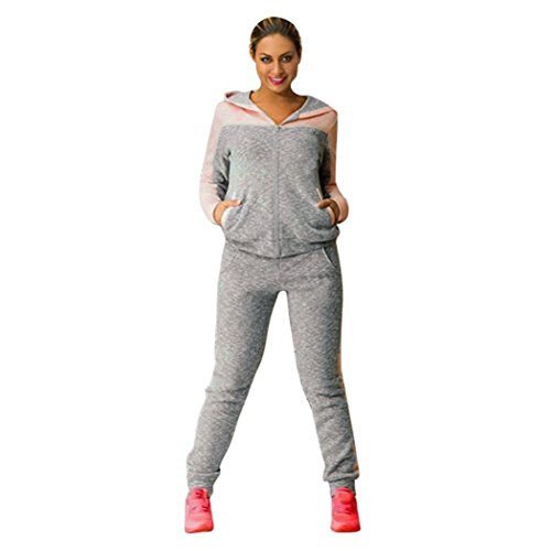 Rcool Dame Sport-Zweiteiler mit Kapuze Sweatshirt Anzüge Trainingsanzüge Jogginghose (L, Rosa) (Team-pyjama-hose-muster)