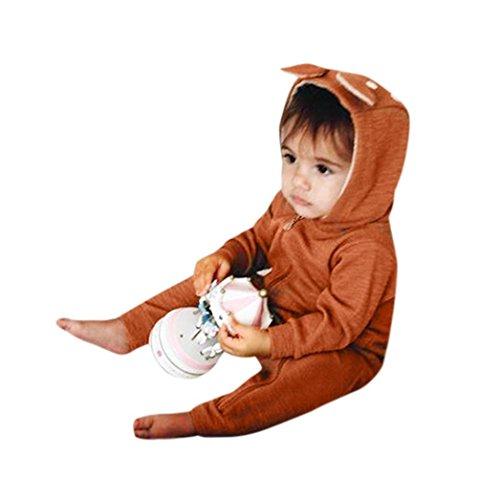 Babykleidung,Sannysis Neugeboren Jumpsuit Baby Junge Mädchen Hirsch Kapuzenjacke Overall Kleider Outfits 3-24Monat (100, Braun)