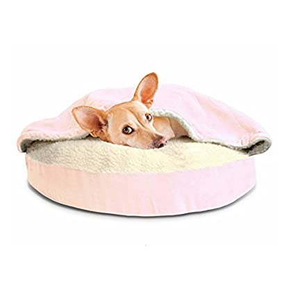 Furhaven Pet Dog Bed   Orthopedic Round Faux Sheepskin Snuggery Burrow Pet Bed for Dogs & Cats, Blue, 18-Inch 5