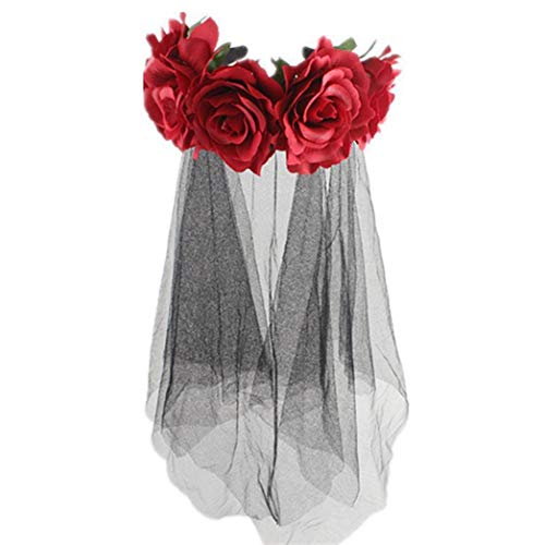 Der Weibliche Toten Tag Kostüm - BiliWL bemerkenswerter Halloween-Tag der Toten Evil Red Rose weiblicher Kopfschmuck Kostüm, einzigartig für Heimdekoration H01