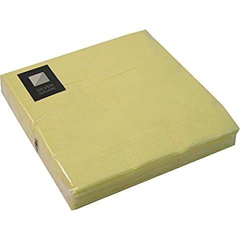 20 LUXURY 3 PLY LIGHT YELLOW PAPER NAPKINS - 33cm x 33cm Ideal for weddings, christenings, parties, bbq's etc FREE