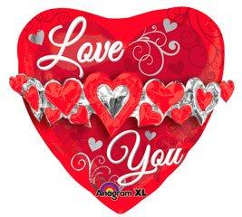 Amscan international - palloncino foil con ghirlanda a cuori e scritta ti amo