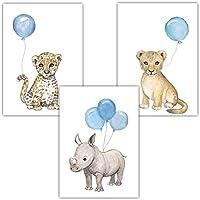 Frechdax® 3er Set Kinderzimmer Poster Baby Bilder DIN A4 | Waldtiere Safari Afrika Tiere Tierposter Luftballon Ballon Farbwahl (3er Set Blau, Löwe, Nashorn, Leopard)