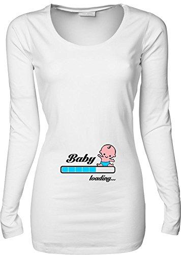 Baby loading Druck: blau langarm Damen T-Shirt LONGSHIRT Damen weiss Gr.S