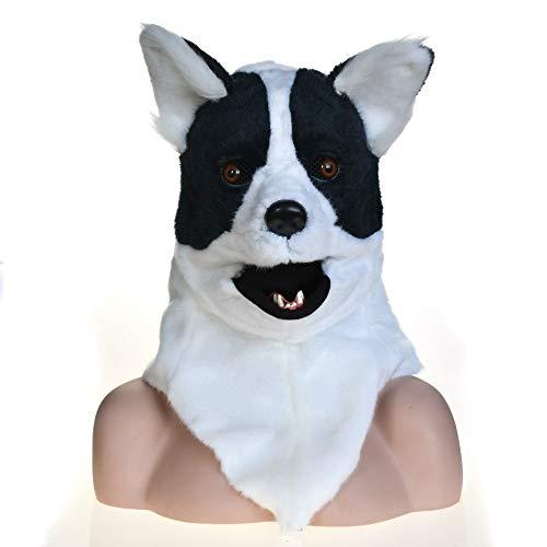 Voller Kopf Tier beweglichen Mund Kopf montiert Cosplay Karneval Kostüm Hund Bleich Anime Masken zum Verkauf Unisex-Erwachsener Dekoration (Color : Black) (Vogel Kostüm Für Hunde)
