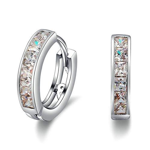 Daawqee Lusso Orecchini, Simple Women Men Studs Earrings Switzerland Block CZ Zircon Jewelry W Brincos Pequenos