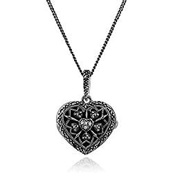 Gemondo Halskette Silber, Geburtsstein April Sterling Silber Diamant und Markasit Herz Medaillon Halskette
