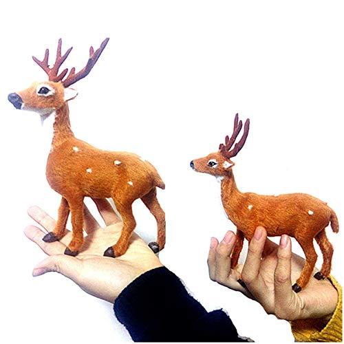 LUCKFY 2ST Simulation Weihnachten Sika Deer Modell Christmas Table Top Deer Figuren Ornaments Desktop Home Decor Sammler -