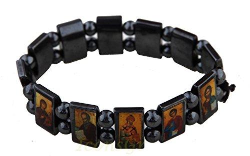 Christian-orthodoxe griechisch Religiöse Hämatit Armband mit Heiligen