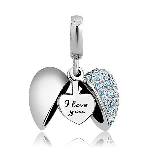 Poetic Charms Herz Love Anhänger Charm 925 Sterling Silber Seeblau Geburtsstein Bead für Europäisch Armbänder - Aquamarin Kristall Anhänger