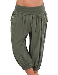 Shujin Femme Pantalon Lâche Bande Stretch à la Taille 7 10 Pants Taille  Haute Large 5ba4a00086f