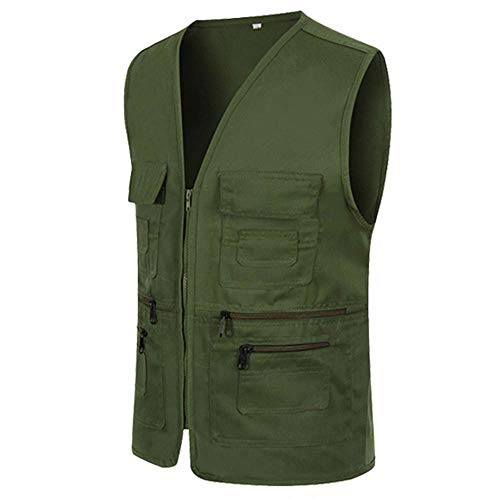 UJUNAOR Männer Ärmellose Cargo Jacke Multi-Pocket-Jackenmantel für Herren(Armeegrün,CN L) -
