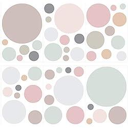 Wandtattoo Kinderzimmer Wandsticker Set Pastell Kreise in sanften Farbnuancen S