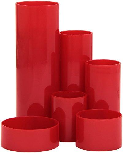 M&M 68500237SP - Portapenne da scrivania, in plastica, colore: Rosso