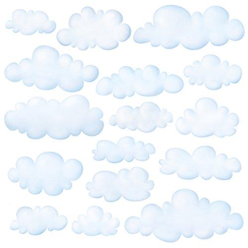 DECOWALL DW-1702 Nubes Vinilo Pegatinas Decorativas Adhesiva Pared Dormitorio Salón Guardería Habitación Infantiles Niños Bebés