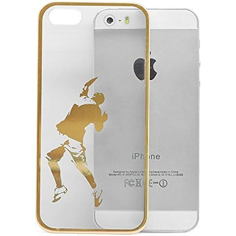 iProtect funda protectora Apple iPhone 5, 5s funda en Ball Game Style transparente oro