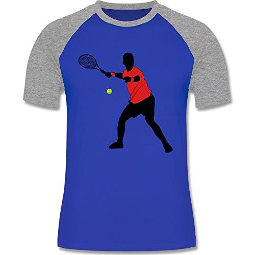 Tennis - Tennis Vorhand - zweifarbiges Baseballshirt für Männer Royalblau/Grau meliert