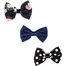 Lux accesorios para niñas infantil blanco y negro juego de pinzas de lazo