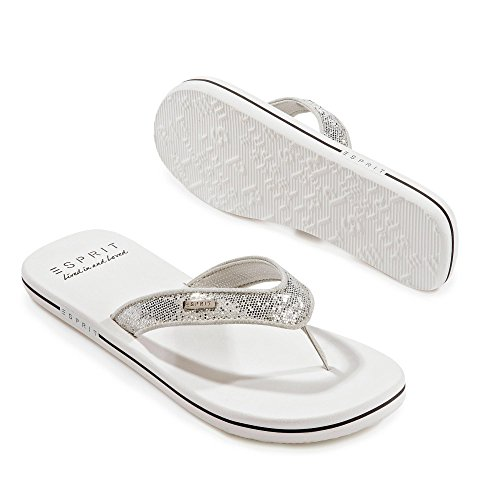 ESPRIT Damen Glitter Thongs Clogs 100 white