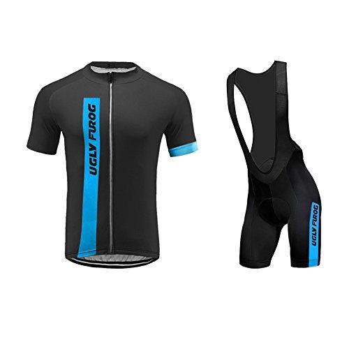 Uglyfrog Männer Radfahren Kleidung Set Kurze Hülse Trikots+Trägerhosen Anzüge Sportbekleidung 01
