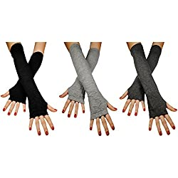 Immerschön 3-er-Set fingerlose Armstulpen 1 Paar schwarz + 1 Paar hellgrau + 1 Paar dunkelgrau Feinstrick lang Pulswärmer Handwärmer Stulpen