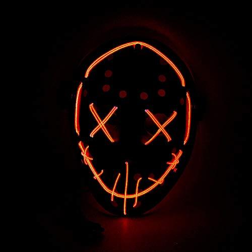 (Queta New Halloween Horror Glowing Maske EL Kaltlicht Maske Halloween Ball LED-Maske Orange Orange)