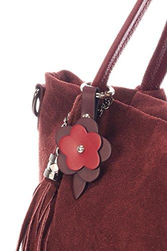 Laura Moretti - Wildleder-Tasche mit Reißverschluss und Blume (TOTE-Stil) Bordo
