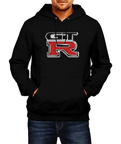 Sweatshirt Nissan GTR Logo Hoodie Herren Men Car Auto Tee Black Grey Long Sleeves Present Christmas (L, Black)
