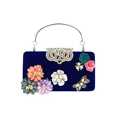 pwne Frauen Abend Tasche Samt All Seasons Hochzeit Event / Party Formale Minaudiere Strass Satin Flower Pearl Details Floral Kette Snap Blue