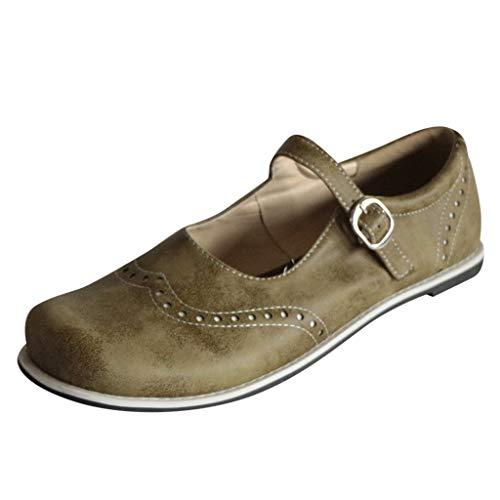 Aerosoles Casual Sandalen (Womens Vintage Mary Jane Schuhe, Mode runde Spitze Brogue Lederschuhe, Schnalle Strand Casual Slip-on Schuhe breite Füße römischen Sandalen)