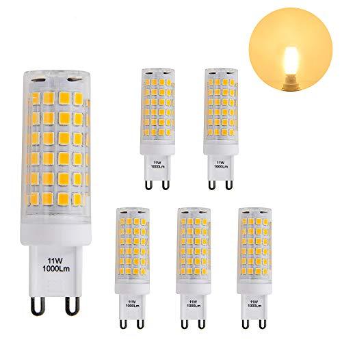 Petite Lampes Ampoules Mais Culot G9 GU9 a LED la Plus Brillante 11W 1000Lm Blanc Chaud 3000K AC220-240V Plus Brillant que Ampoule Halogene 60W Lot de 6 de Enuotek