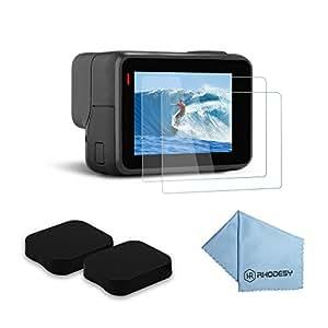Rhodesy RH045 Pacco di 2 Protettori per Display LCD in Vetro Temprato Ultra Chiaro + Protezione lenti per GoPro Hero 6 Hero 5 Action Camera