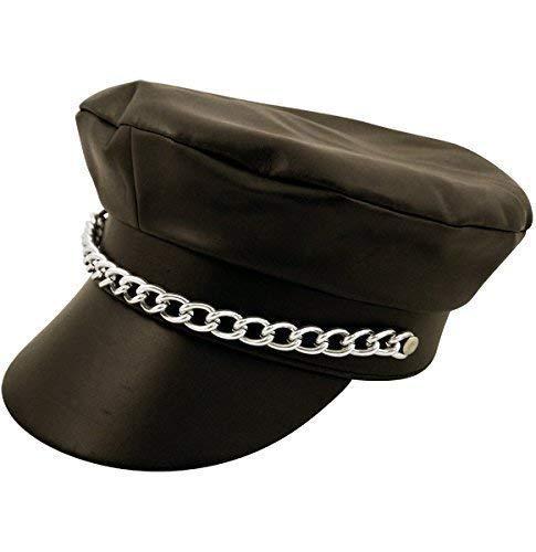 Fancy Me Erwachsene Herren Damen Schwarz Biker Kostüm Kleid Outfit Hut Zubehör