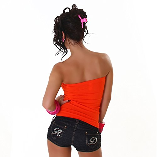 Katia Fashion Damen Bandeau Top Rippstrick Orange