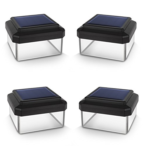 Green Blue GB126 Solarlampe Zaunpfahl Gartenlicht mit Dämmerungssensor Warmweiß 4000K LED Akku (4 Stück 60x60 mm)