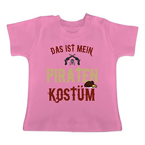 Karneval und Fasching Baby - Das ist Mein Piraten Kostüm - 12-18 Monate - Pink - BZ02 - Baby T-Shirt - Kostüm Pirat Baby