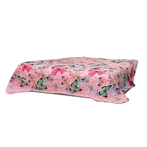 WOMETO XXL Tagesdecke 220x240 cm OekoTex - Schmetterlinge gesteppt rosa blau grün Decke Bett Überwurf Wohndecke Steppdecke Landhaus-Stil Barock modern bunt