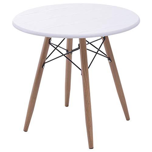 HOMCOM Couchtisch Wohnzimmertisch Beistelltisch Kaffeetisch Teetisch Nachttisch rund Holz + Metall Natur + Weiß Ø60 x H55 cm -