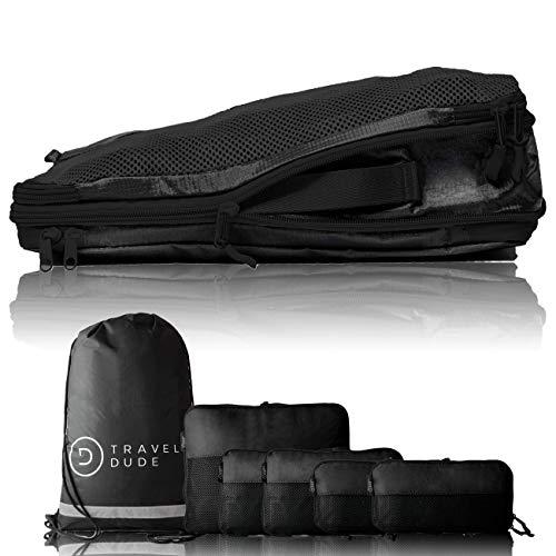 TRAVEL DUDE Packwürfel Set mit Kompression | Packing Cubes | Packtaschen Set & Gepäck Organizer für Rucksack & Koffer | Extra leichte Kleidertaschen | Schwarz, 7-teilig -