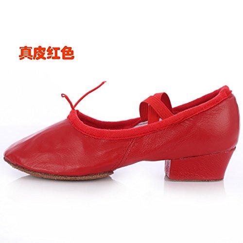 Wuyulunbi@ Con lo Yoga scarpe da ballo scarpe da ballo fondo morbido Kungfu scarpe Gules