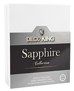 DecoKing 19177 Wasserbett Spannbettlaken 100 x 200 - 120 x 200 cm Jersey Baumwolle Spannbetttuch Sapphire Collection, weiß