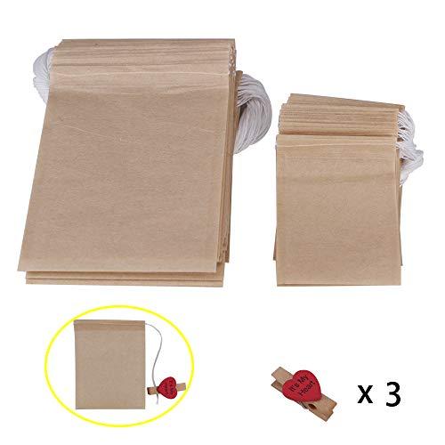 Benail 300 Pack Paper Tea Filter Bags with Drawstring Disposable Paper Tea Bags Unbleached Empty Paper Bag with 3 Clips as Bonus(Unbleached) 200 pcs 6.2 x 8cm, 100 pcs 8 x 10cm