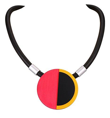 BELLE MISS Damen Halskette, Kautschuk, Schwarz mit silberfarbenem Aluminium-Element, Gelb/Rot / Schwarz