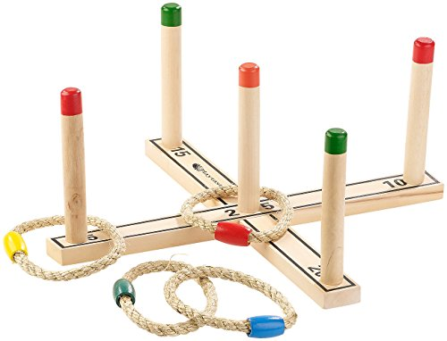 : Outdoor-Ringwurfspiel aus Holz mit 4 Wurfringen, 37 cm (Outdoor-Spielzeug) ()